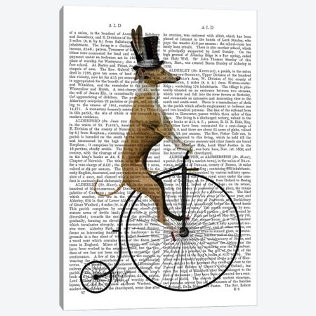 Greyhound On Black Penny Farthing Bike Canvas Print #FNK45} by Fab Funky Canvas Artwork