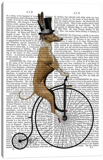 Greyhound On Black Penny Farthing Bike Canvas Art Print