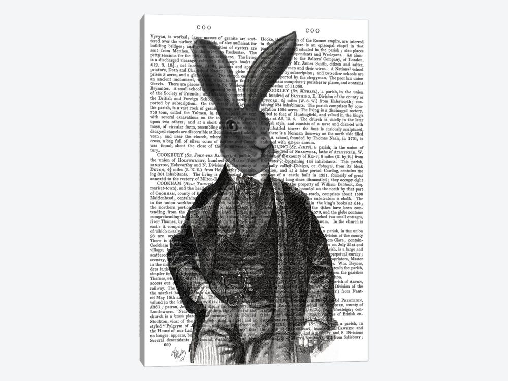 Victorian Rabbit Gent I by Fab Funky 1-piece Canvas Wall Art