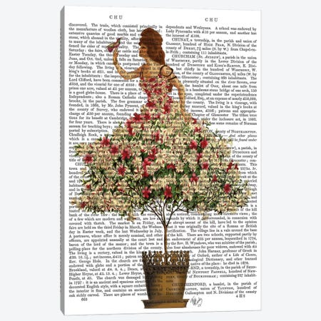 Woman In Floral Dress I Canvas Print #FNK468} by Fab Funky Canvas Wall Art