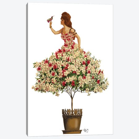Woman In Floral Dress II Canvas Print #FNK469} by Fab Funky Canvas Artwork