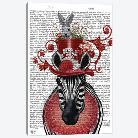 Zebra And Bunny Hat I Canvas Print #FNK471} by Fab Funky Canvas Print