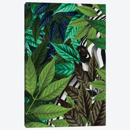 Zebra In Green Leaves Canvas Print #FNK479} by Fab Funky Canvas Print