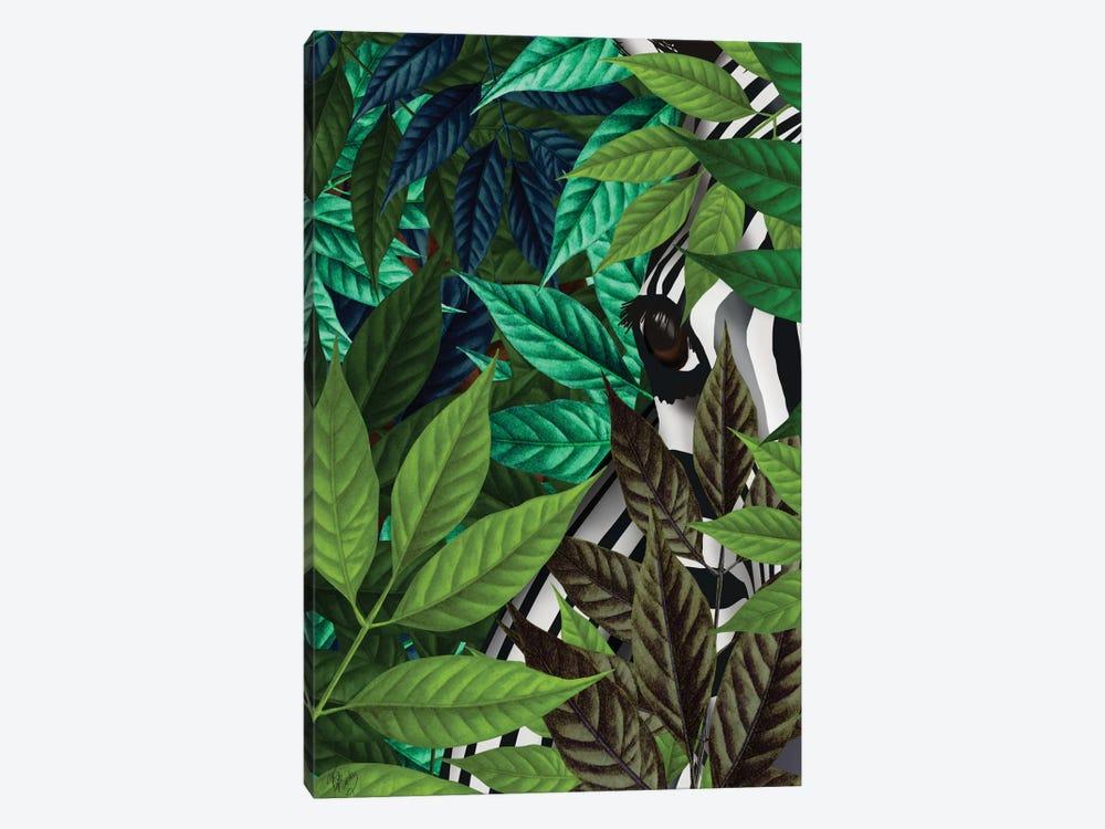 Zebra In Green Leaves by Fab Funky 1-piece Art Print
