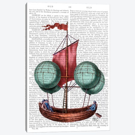 Hot Air Balloon Airship With Red Sail Canvas Print #FNK47} by Fab Funky Canvas Wall Art