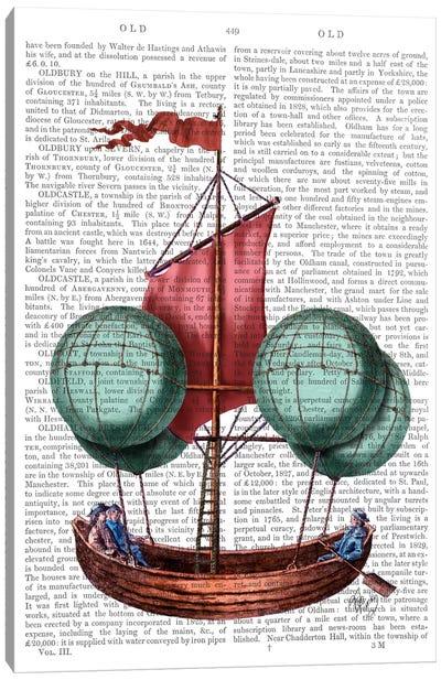 Hot Air Balloon Airship With Red Sail Canvas Print #FNK47