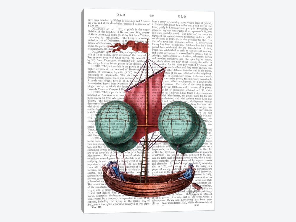 Hot Air Balloon Airship With Red Sail by Fab Funky 1-piece Canvas Print
