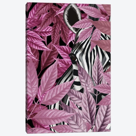 Zebra In Pink Leaves Canvas Print #FNK480} by Fab Funky Canvas Artwork