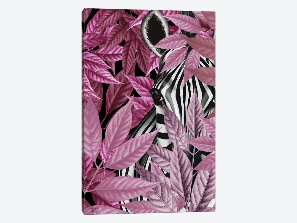 Zebra In Pink Leaves by Fab Funky 1-piece Canvas Print