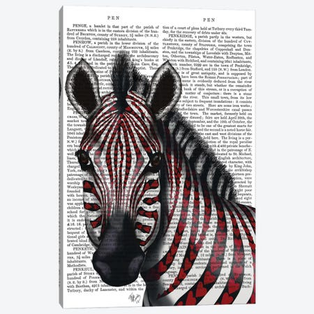 Zebra With Red Love Hearts I Canvas Print #FNK482} by Fab Funky Canvas Wall Art
