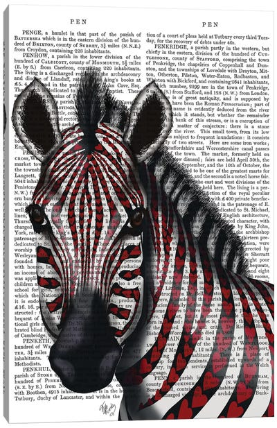 Zebra With Red Love Hearts I Canvas Print #FNK482