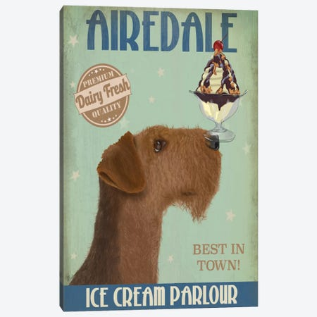 Airedale Ice Cream Parlour Canvas Print #FNK488} by Fab Funky Canvas Art