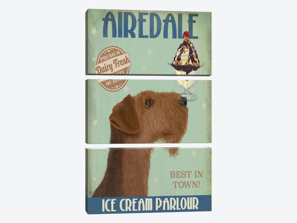 Airedale Ice Cream Parlour by Fab Funky 3-piece Canvas Art Print