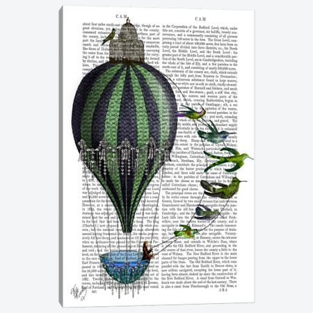Hot Air Balloon And Birds Canvas Print #FNK48} by Fab Funky Art Print