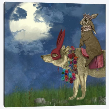 Arrival of The Hare King 3-Piece Canvas #FNK490} by Fab Funky Canvas Art Print