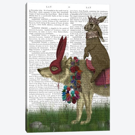Arrival of The Hare King, Print BG Canvas Print #FNK491} by Fab Funky Canvas Print