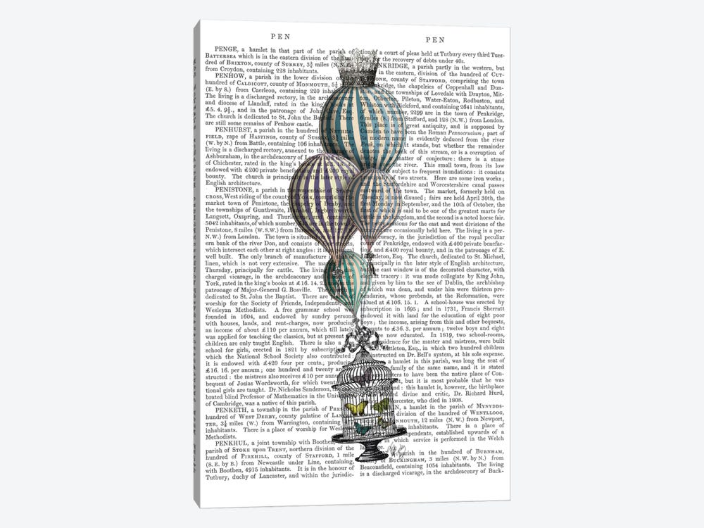 Balloon and Bird Cage 1 by Fab Funky 1-piece Art Print