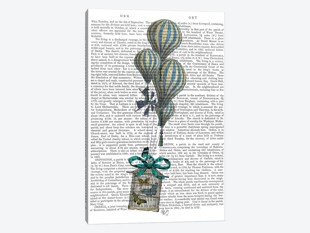 Balloon and Bird Cage 2 by Fab Funky 1-piece Canvas Art