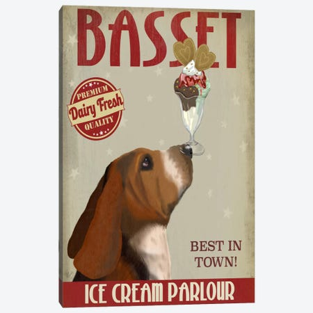 Basset Ice Cream Parlour Canvas Print #FNK495} by Fab Funky Canvas Wall Art