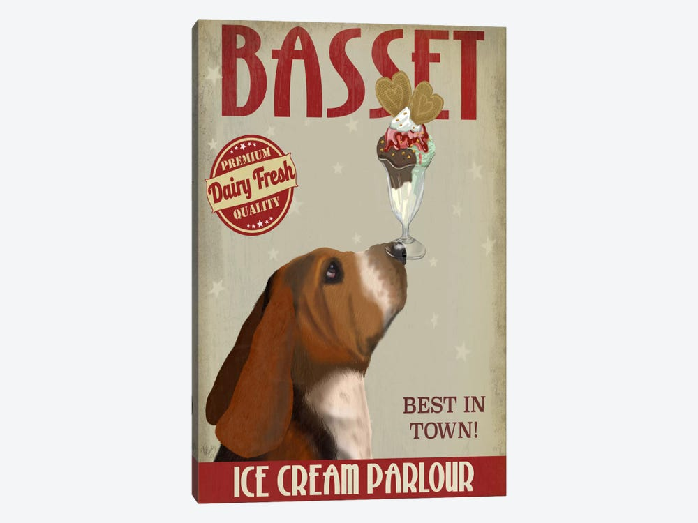 Basset Ice Cream Parlour 1-piece Canvas Art Print