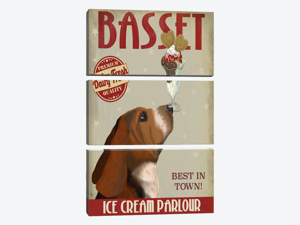 Basset Ice Cream Parlour by Fab Funky 3-piece Canvas Print