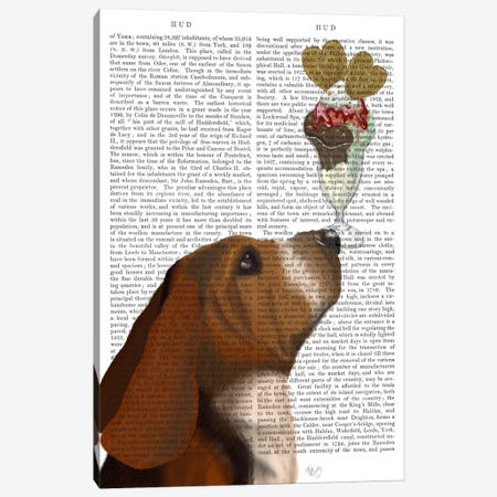 Basset Hound Ice Cream, Print BG Canvas Print #FNK496} by Fab Funky Canvas Art