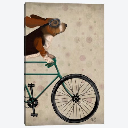 Basset Hound on Bicycle Canvas Print #FNK497} by Fab Funky Canvas Artwork