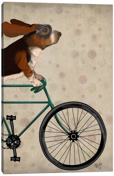 Basset Hound on Bicycle Canvas Art Print