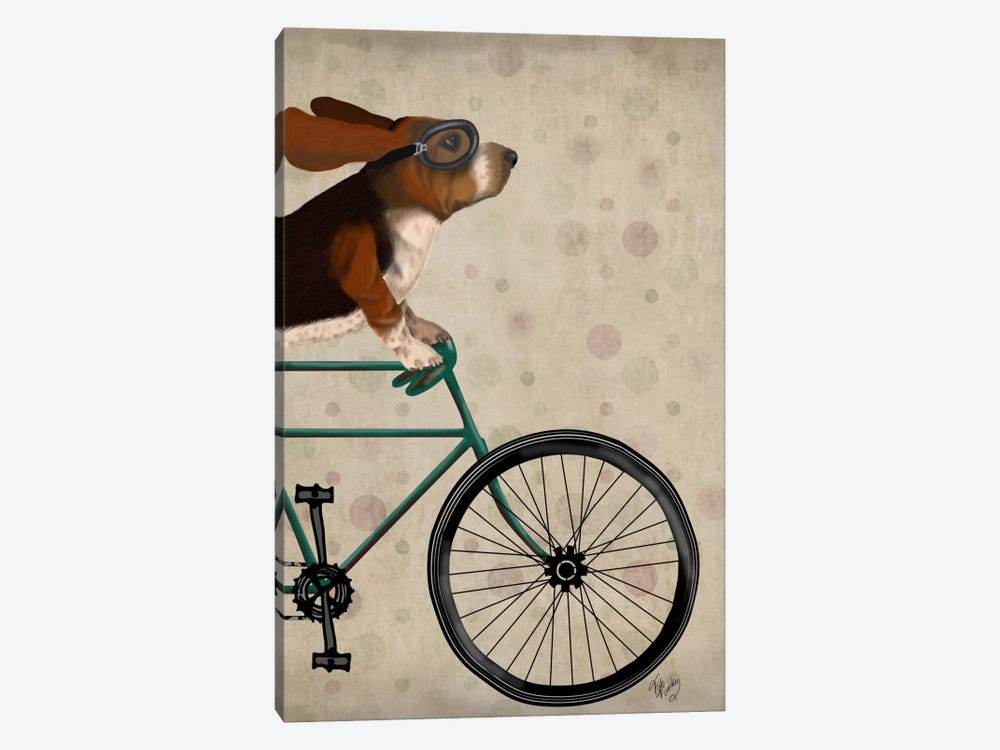 Basset Hound on Bicycle by Fab Funky 1-piece Canvas Art Print