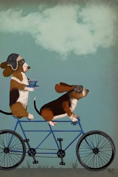 Basset Hound Tandem Canvas Wall Art By Fab Funky Icanvas