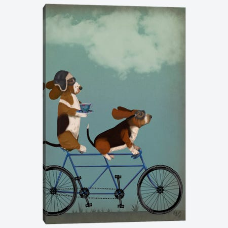 Basset Hound Tandem Canvas Print #FNK499} by Fab Funky Canvas Art Print