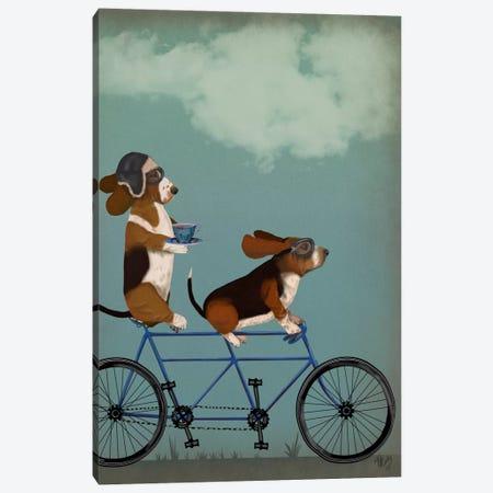 Basset Hound Tandem Canvas Print #FNK499} by Fab Funky Canvas Art Print