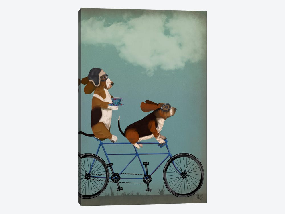 Basset Hound Tandem by Fab Funky 1-piece Canvas Print