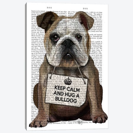 Hug A Bulldog Canvas Print #FNK49} by Fab Funky Canvas Art Print