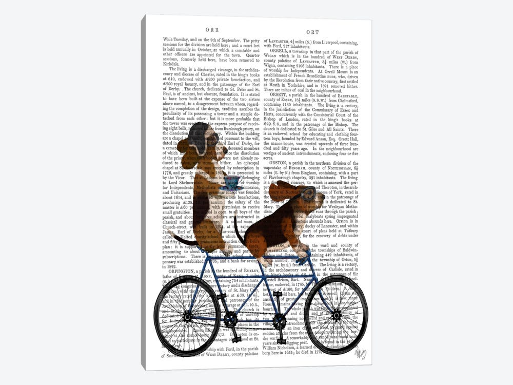 Basset Hound Tandem, Print BG by Fab Funky 1-piece Canvas Artwork