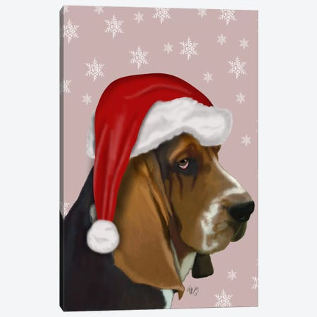 Basset Hound, Christmas Hat Canvas Print #FNK501} by Fab Funky Canvas Art Print