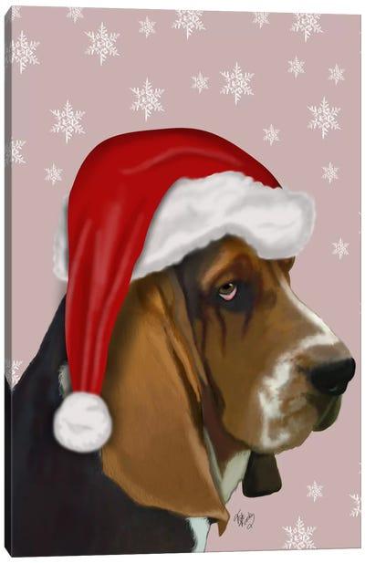 Basset Hound, Christmas Hat Canvas Art Print