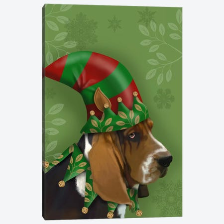 Basset Hound, Elf Hat Canvas Print #FNK502} by Fab Funky Canvas Print