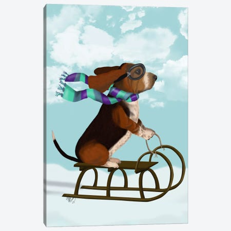 Basset Hound, Sledging Canvas Print #FNK503} by Fab Funky Art Print