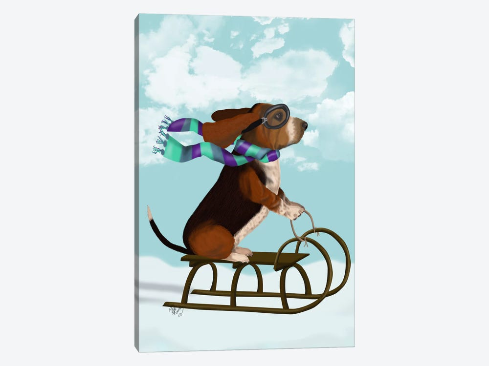 Basset Hound, Sledging by Fab Funky 1-piece Canvas Print