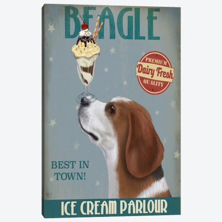 Beagle Ice Cream Parlour Canvas Print #FNK504} by Fab Funky Canvas Wall Art