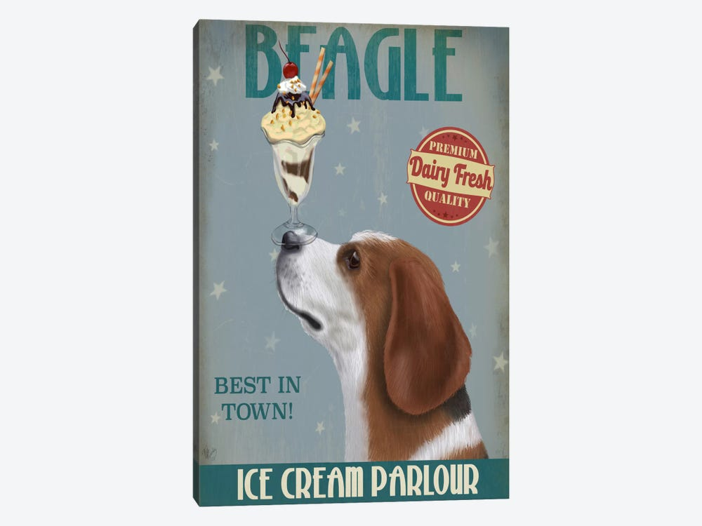 Beagle Ice Cream by Fab Funky 1-piece Canvas Artwork