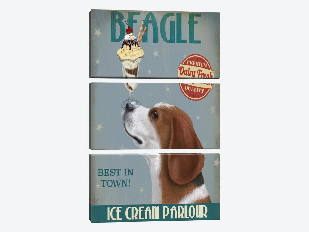 Beagle Ice Cream by Fab Funky 3-piece Canvas Art
