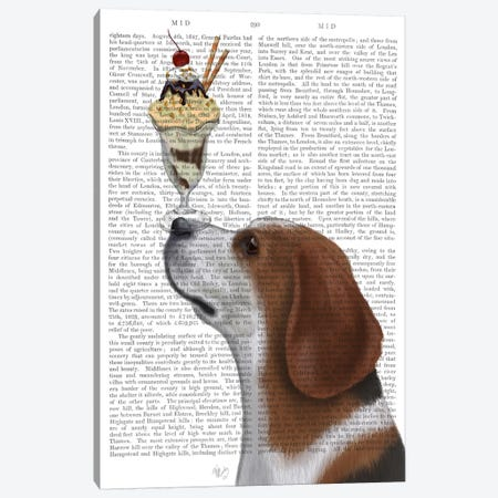 Beagle Ice Cream, Print BG Canvas Print #FNK505} by Fab Funky Canvas Wall Art