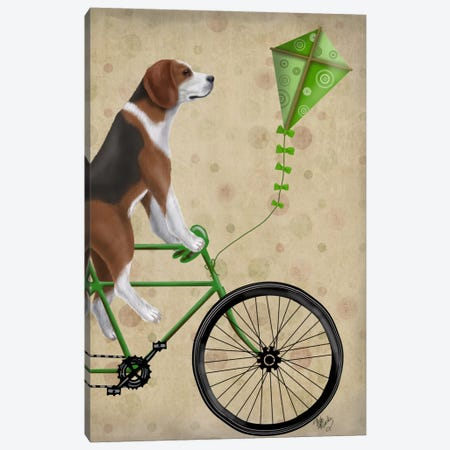 Beagle on Bicycle Canvas Print #FNK506} by Fab Funky Canvas Wall Art