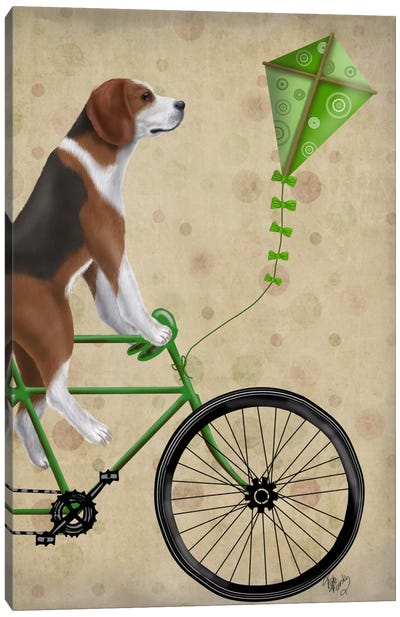 Beagle on Bicycle Canvas Art Print