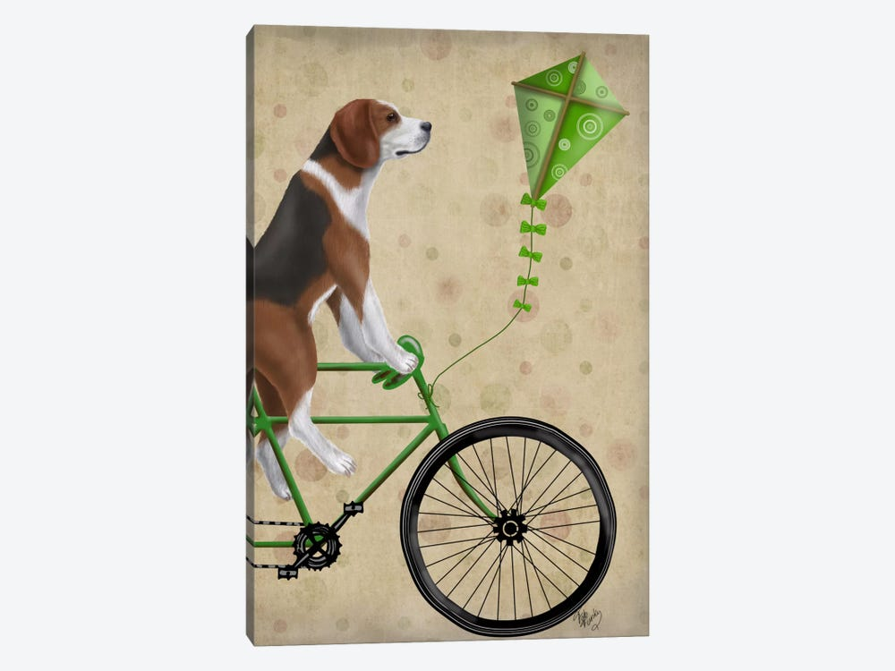 Beagle on Bicycle by Fab Funky 1-piece Canvas Art