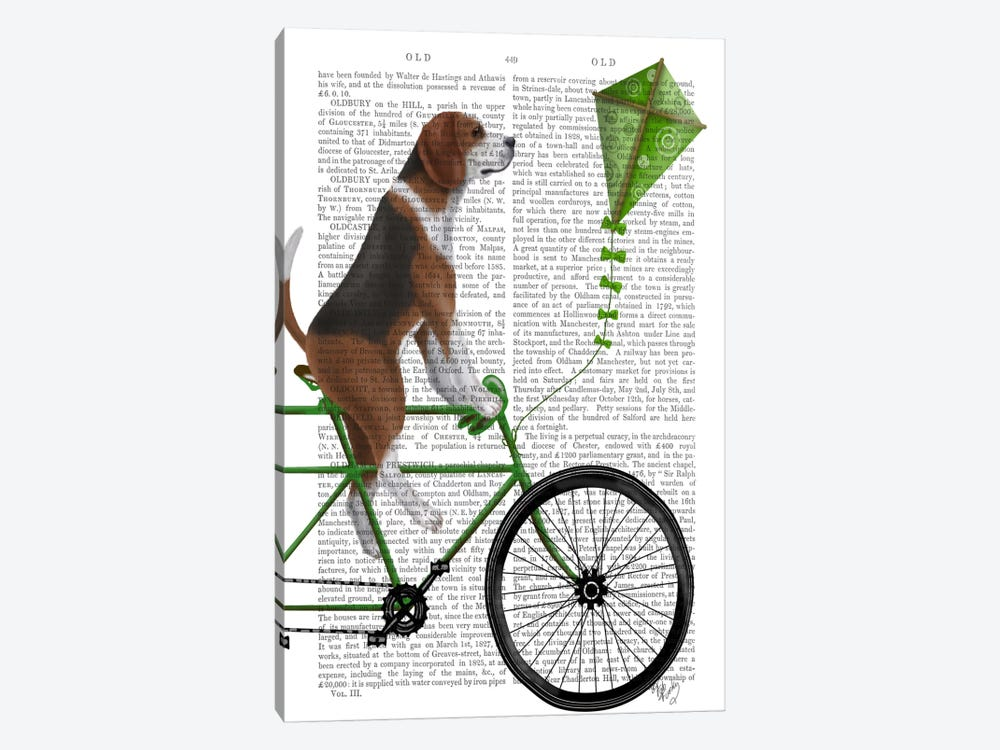 Beagle on Bicycle, Print BG by Fab Funky 1-piece Art Print