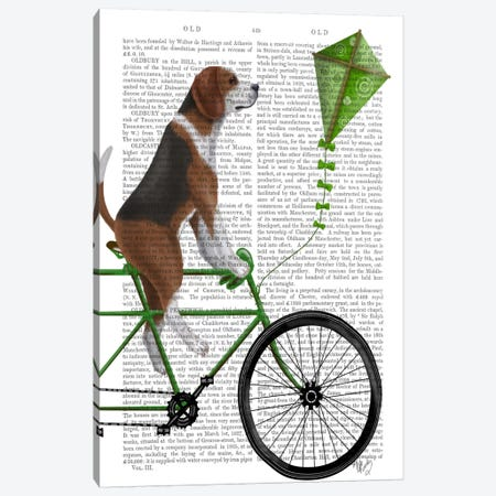 Beagle on Bicycle, Print BG 3-Piece Canvas #FNK507} by Fab Funky Canvas Wall Art
