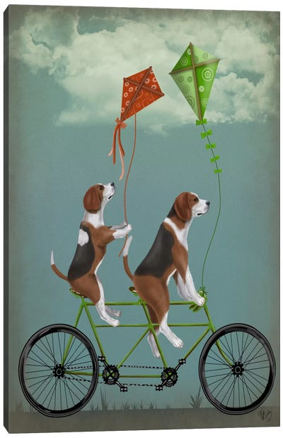 Beagle Tandem Canvas Art Print
